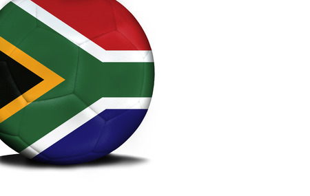 The flag of South Africa was represented on the ball, the ball is isolated on a white background with space for your text.