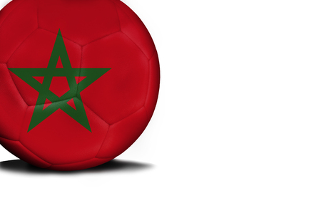The flag of Morocco was represented on the ball, the ball is isolated on a white background with space for your text.