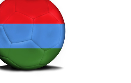 The flag of Karelia was represented on the ball, the ball is isolated on a white background with space for your text. Stock Photo