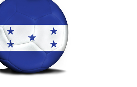 bandera honduras: The flag of Honduras was represented on the ball, the ball is isolated on a white background with space for your text. Foto de archivo
