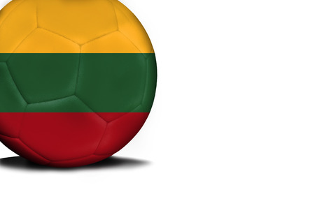 The flag of Lithuania was represented on the ball, the ball is isolated on a white background with space for your text.