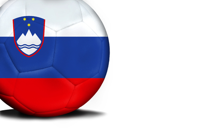 The flag of Slovenia was represented on the ball, the ball is isolated on a white background with space for your text. Stock Photo