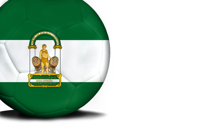The flag of Andalusia was represented on the ball, the ball is isolated on a white background with space for your text.