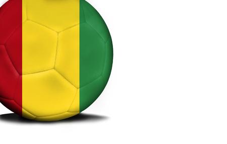 The flag of Guinea was represented on the ball, the ball is isolated on a white background with space for your text. Stock Photo