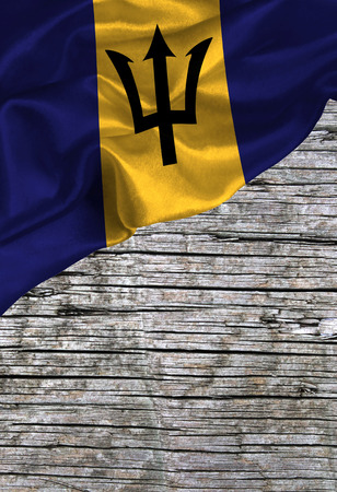 Grunge colorful flag Barbados, with copyspace for your text or images.