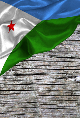 djibouti: Grunge colorful flag Djibouti, with copyspace for your text or images. Stock Photo