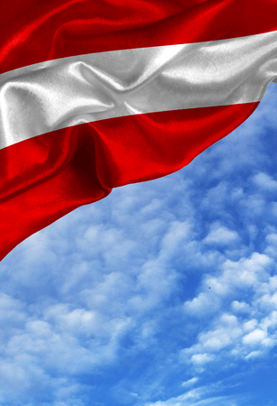 austria flag: Grunge colorful flag Austria, with copyspace for your text or images against a blue sky with clouds