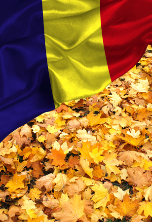 Grunge colorful flag Romania, with copyspace for your text or images.