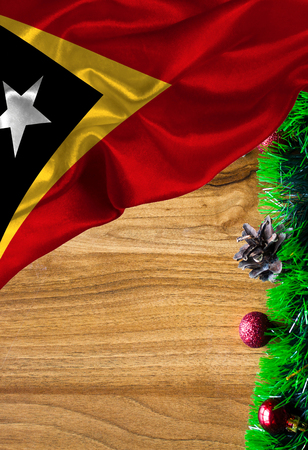 Grunge colorful flag East Timor, with copyspace for your text or images. Congratulations on Christmas and New Year. Stock Photo