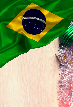 Grunge colorful flag Brazil, with copyspace for your text or images. Congratulations on Christmas and New Year.
