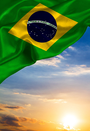 janeiro: Grunge colorful flag Brazil, with copyspace for your text or images.