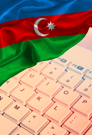 Grunge colorful flag Azerbaijan, with copyspace for your text or images on the keyboard background Stock Photo