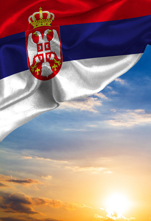 Grunge colorful flag Serbia, with copyspace for your text or images. Stock Photo