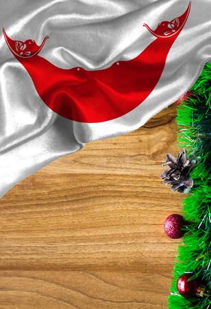 テキストや画像の copyspace とグランジのカラフルな旗のイースター島ラパヌイ。クリスマスと新年おめでとうございます。
