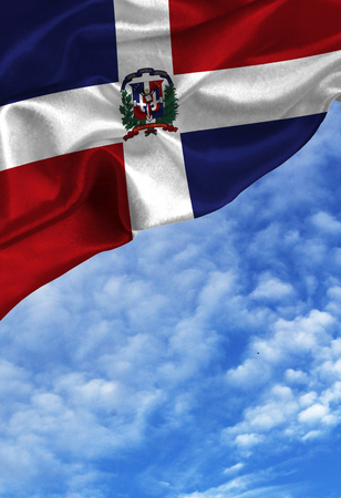 Grunge colorful flag Dominican Republic , with copyspace for your text or images against a blue sky with clouds