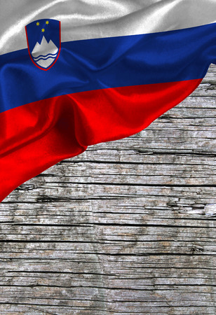 Grunge colorful flag Slovenia, with copyspace for text or images. Stock Photo