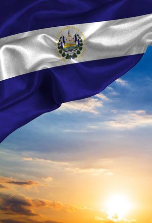 bandera de el salvador: Grunge colorful flag El Salvador, with copyspace for text or images.