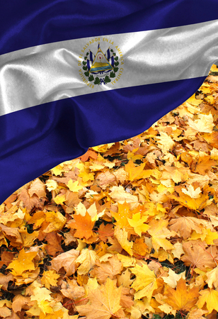 bandera de el salvador: Grunge colorful flag El Salvador, with copyspace for your text or images.