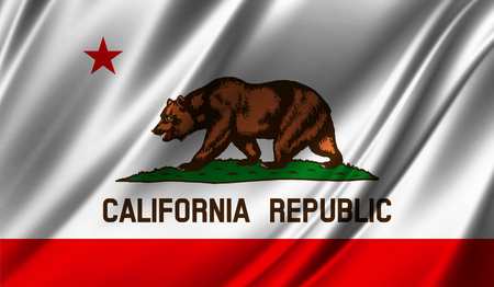 Flags from the USA on fabric ; State of California