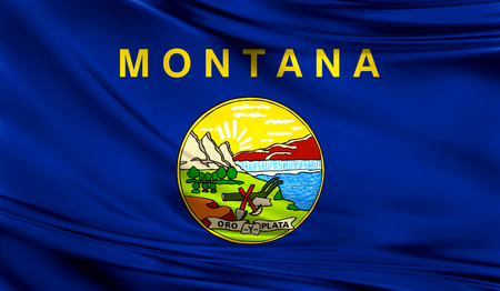 Flags from the USA on fabric ; State of Montana Фото со стока