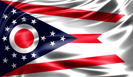 Flags from the USA on fabric ; State of Ohio Stock Photo