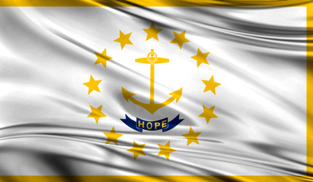 Flags from the USA on fabric ; State of Rhode Island and Providence Plantations