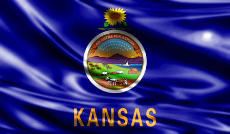 kansas: Flags from the USA on fabric ; State of Kansas