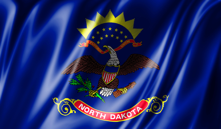 Flags from the USA on fabric ; State of North Dakota Stock Photo