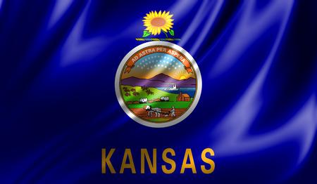 Vlaggen uit de VS op textiel; Staat van Kansas