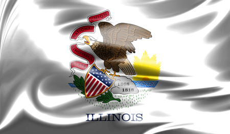 Flags from the USA on fabric ; State of Illinois