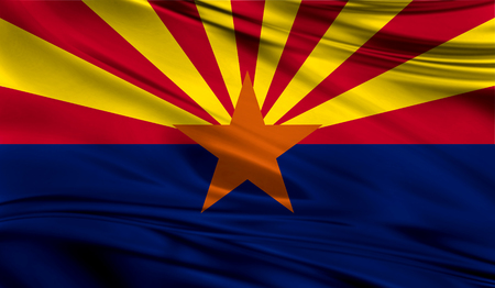 Flags from the USA on fabric ; State of Arizona Stock Photo