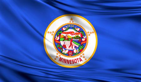 Flags from the USA on fabric ; State of Minnesota