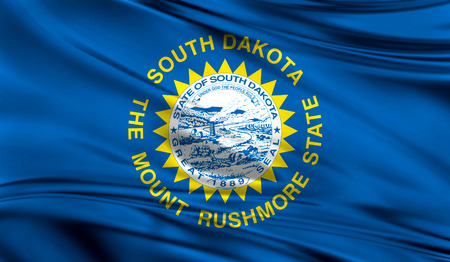 Flags from the USA on fabric ; State of South Dakota