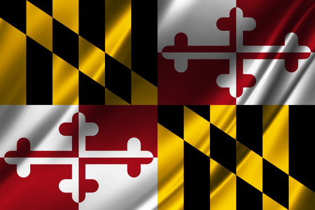 Flags from the USA on fabric ; State of Maryland Stock Photo