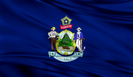 Flags from the USA on fabric ; State of Maine