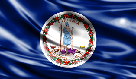 Flags from the USA on fabric ; Commonwealth of Virginia