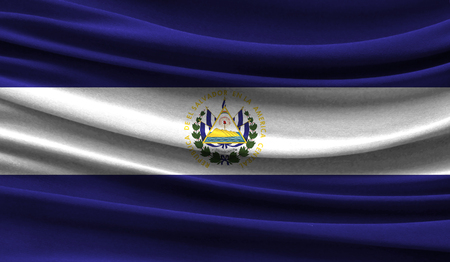 Realistic flag of El Salvador on the wavy surface of fabric. This flag can be used in design