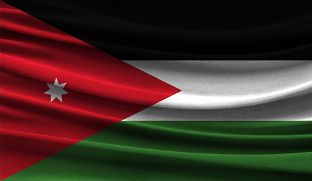 Realistic flag of Jordan on the wavy surface of fabric. This flag can be used in design