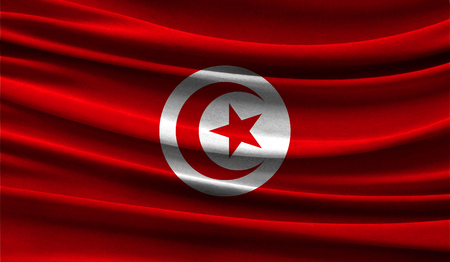 Realistic flag of Tunisia on the wavy surface of fabric. This flag can be used in design