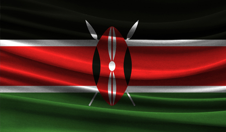 Realistic flag of Kenya on the wavy surface of fabric. This flag can be used in design Stock Photo