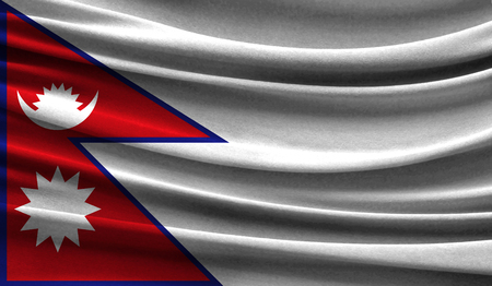 Realistic flag of Nepal on the wavy surface of fabric. This flag can be used in design Stock Photo