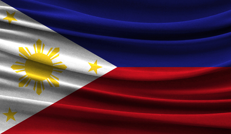 Realistic flag of Philippines on the wavy surface of fabric. This flag can be used in design