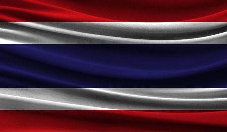 Realistic flag of Thailand on the wavy surface of fabric. This flag can be used in design Stock Photo