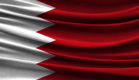 Realistic flag of Bahrain on the wavy surface of fabric. This flag can be used in design