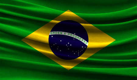 Realistic flag of Brazil on the wavy surface of fabric. This flag can be used in design 写真素材