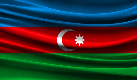 Realistic flag of Azerbaijan on the wavy surface of fabric. This flag can be used in design