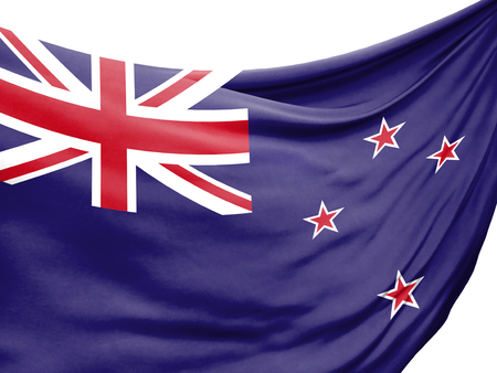 Closeup of rippled flag of New Zealand on white background.