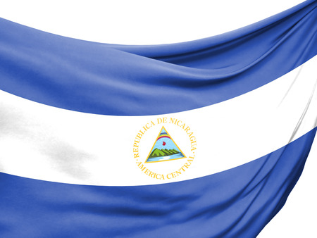 Closeup of rippled flag of Nicaragua on white background.