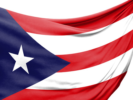 Closeup of rippled flag of Puerto Rico on white background.