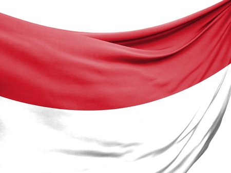 Closeup of rippled flag of Indonesia on white background.